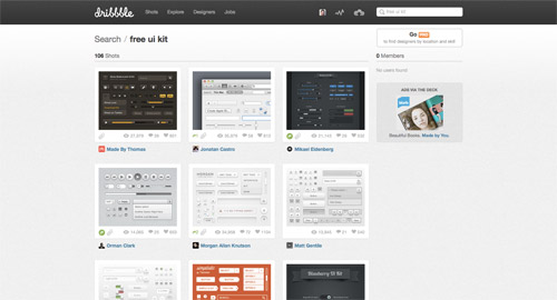 View UI kits from Dribbble