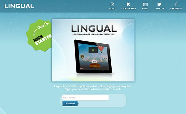 Catch Lingual in Blue Color in Web Design