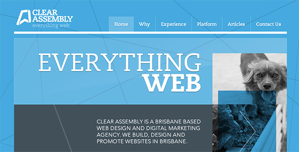 Clear_Assembly in Blue Color in Web Design