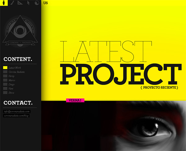 Corona Radiata in 70 Best Creative Websites of 2012