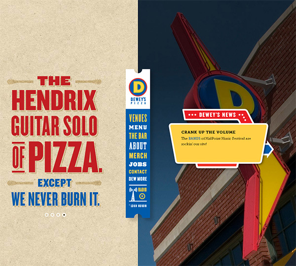 Dewey's Pizza in 70 Best Creative Websites of 2012