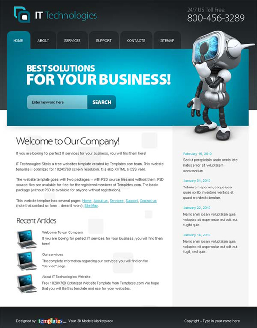 Free IT Technologies Website Template