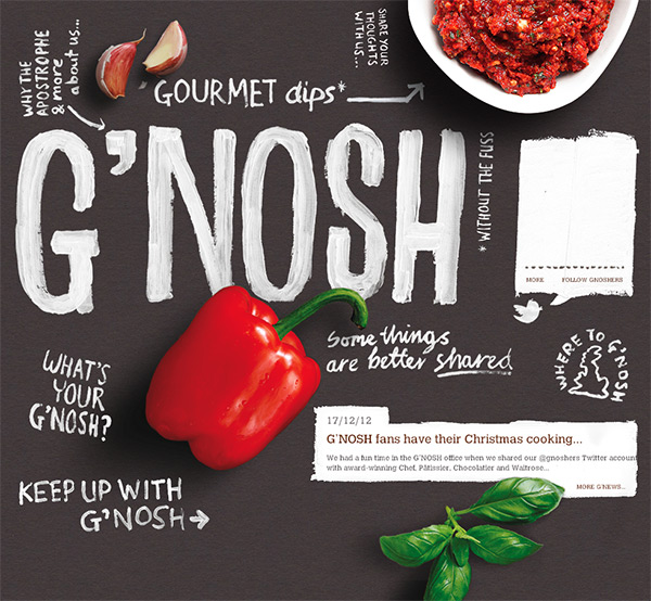 G'nosh in 70 Best Creative Websites of 2012