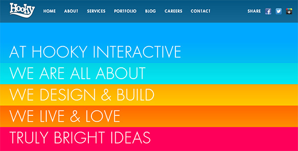 Hooky Interactive in Blue Color in Web Design