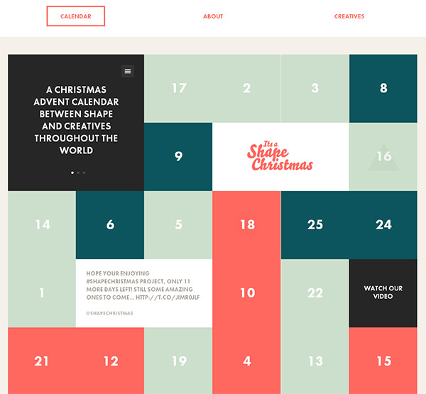 It's a Shape Christmas in 70 Best Creative Websites of 2012