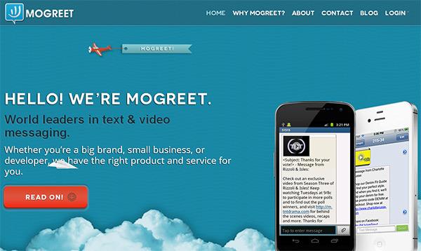 Mogreet in Blue Color in Web Design