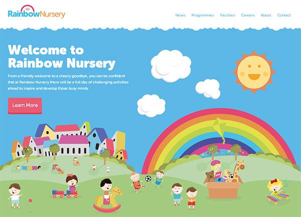 Rainbow Nursery in Blue Color in Web Design