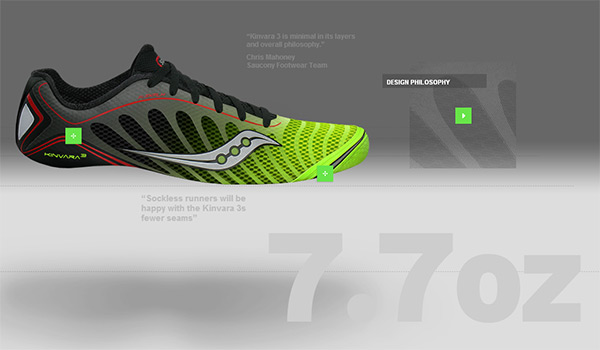Saucony Kinvara 3 in 70 Best Creative Websites of 2012