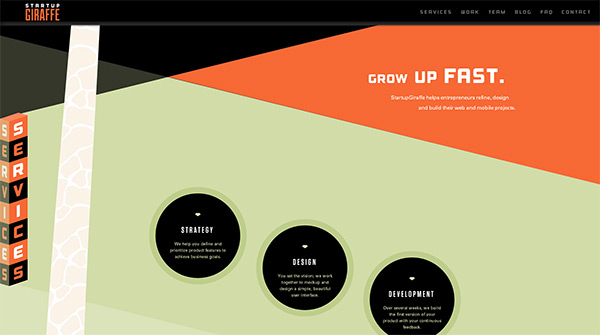 Startup Giraffe in 70 Best Creative Websites of 2012