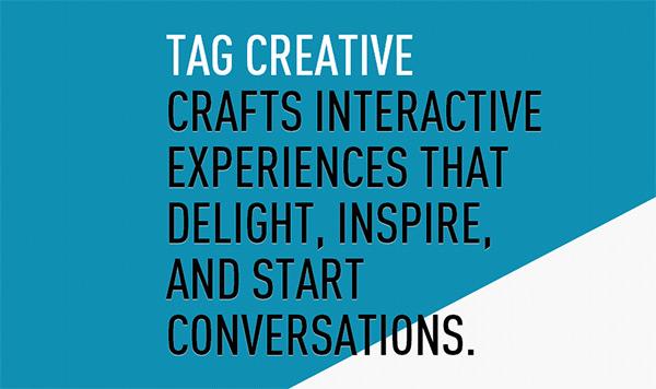 Tag Creative Studio in Blue Color in Web Design