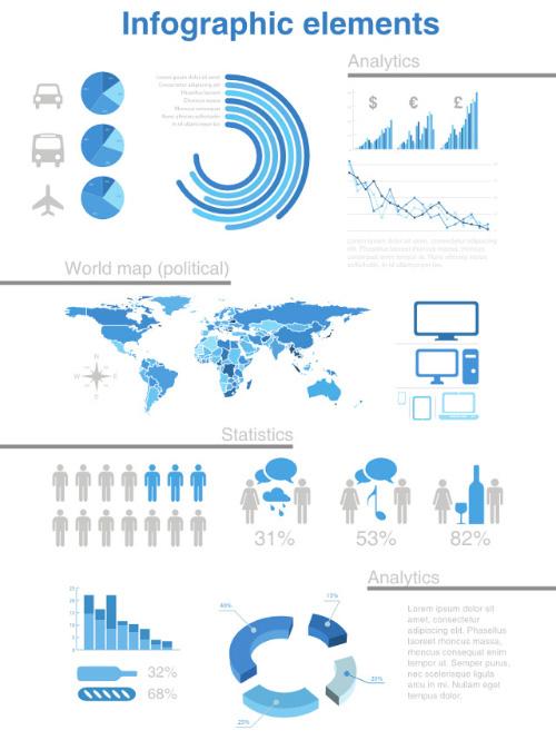 Analytics, World Map & Statistics Elements