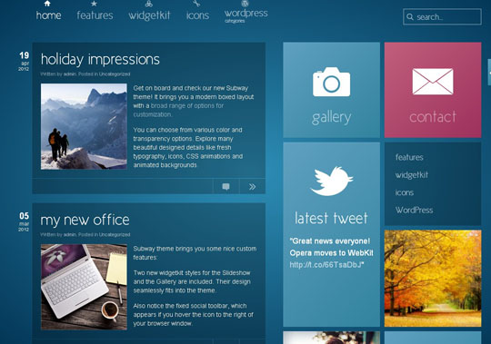 15个精美Metro UI风格WordPress主题预览下载