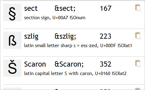 Useful Typography Resources - HTML Entity Character Lookup