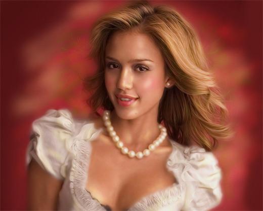 Jessica alba digital art painting celebrity