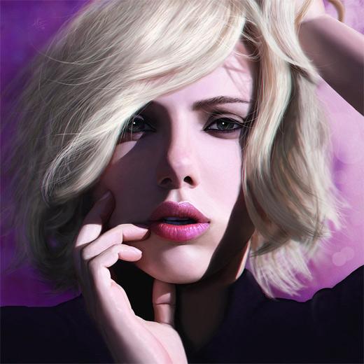Scarlett johansson digital art painting celebrity