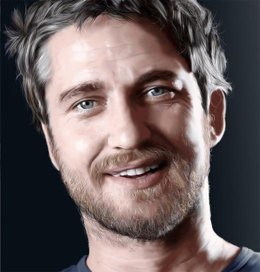 Gerard butler digital art painting celebrity