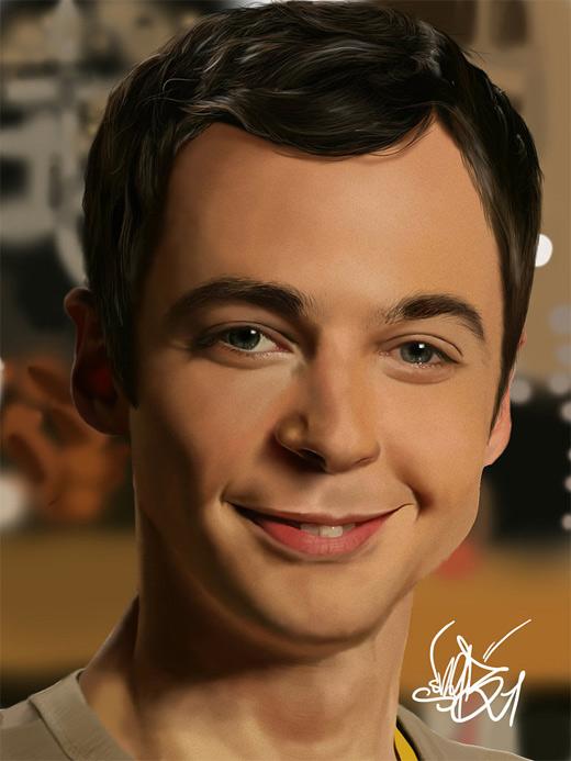 Sheldon cooper digital art painting celebrity