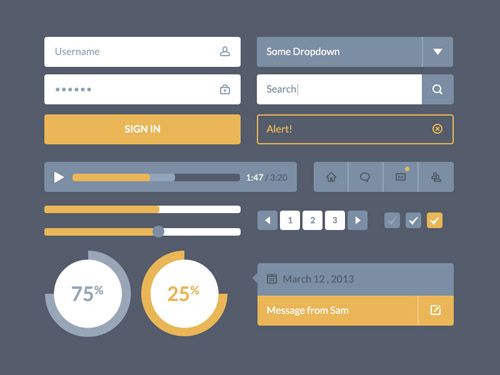 Flat Icons and Web Elements for UI Design-30