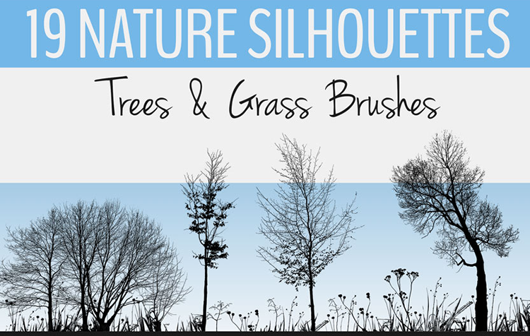 Nature Silhouettes Trees & Grass Brushes - 19 Brushes