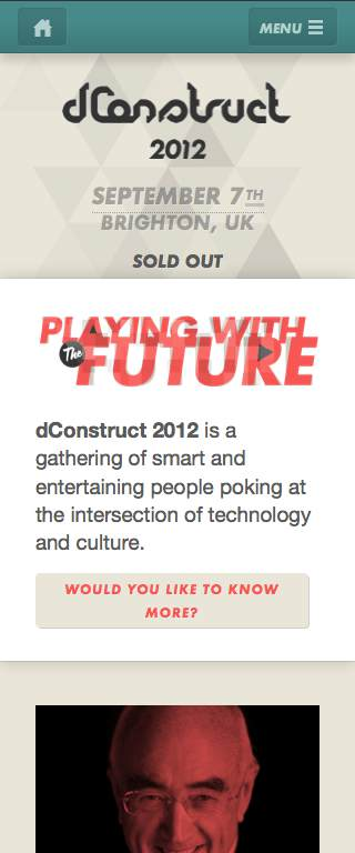 dConstruct 2012 Responsive Website on Mobile