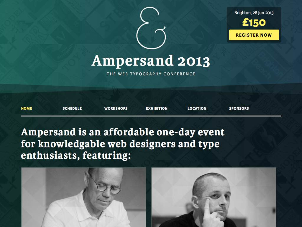 Ampersand 2013 Responsive Website on a Tablet