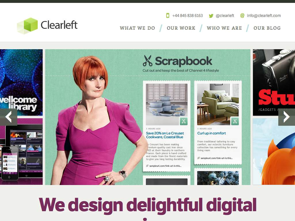 Clearleft Responsive Website on a Tablet
