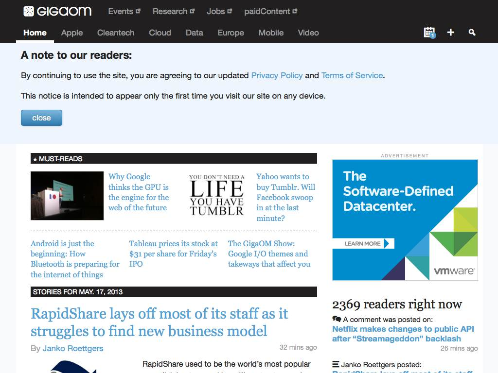 GigaOM Responsive Website on a Tablet