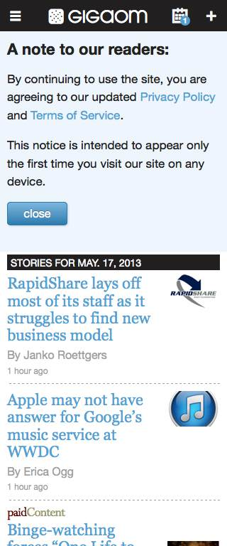 GigaOM Responsive Website on Mobile