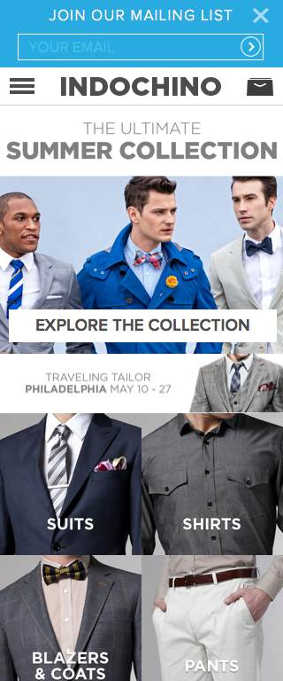 Indochino Responsive Website on Mobile
