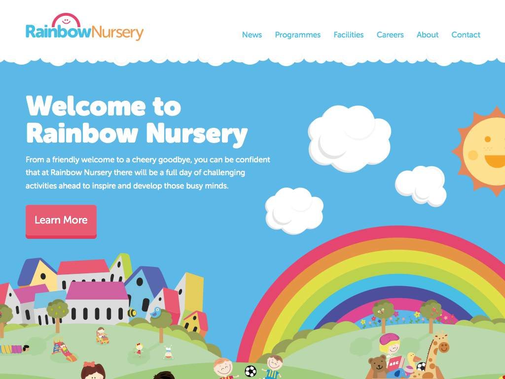 RainbowNursery Responsive Website on a Tablet