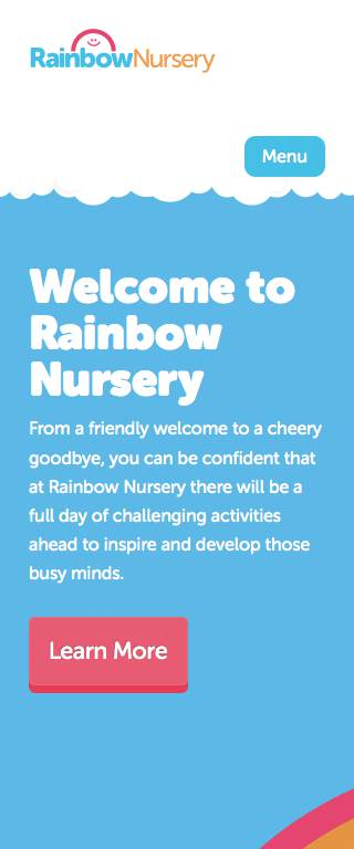 RainbowNursery Responsive Website on Mobile