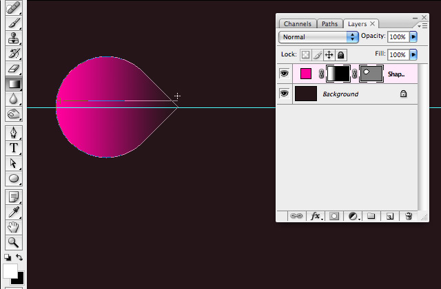 Simple organic shapes in Photoshop - Add Linear Gradient Mask