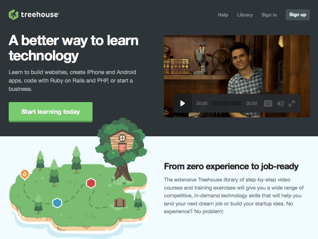 Treehouse Responsive Website on a Tablet