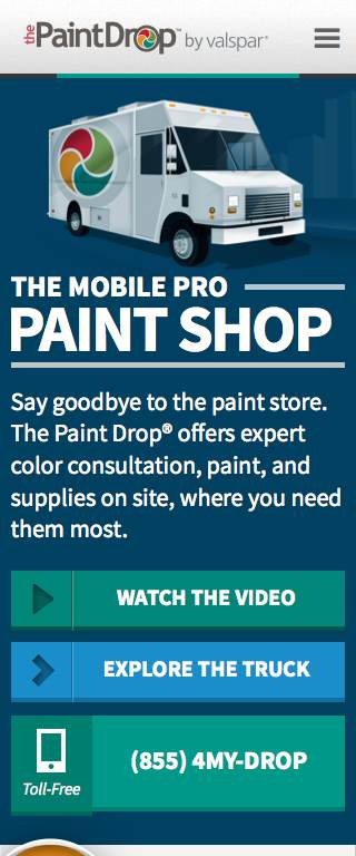 The PaintDrop Responsive Website on Mobile