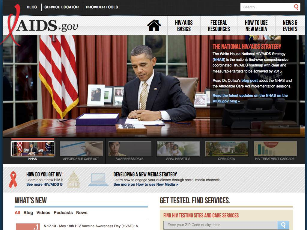 AIDS.gov Responsive Website on a Tablet