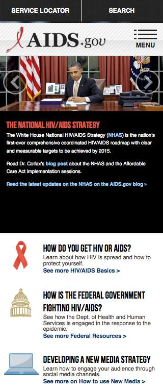AIDS.gov Responsive Website on Mobile