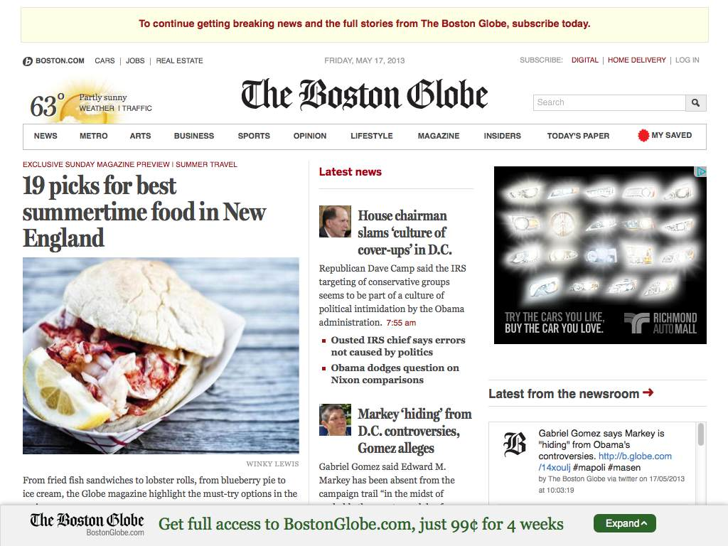 The Boston Globe Responsive Website on a Tablet