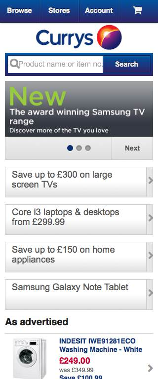 Currys Responsive Website on Mobile