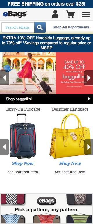 eBags Responsive Website on Mobile