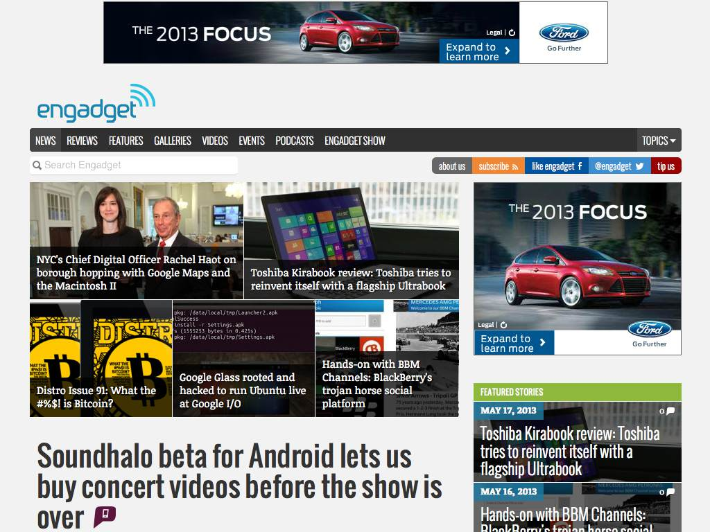 Engadget Responsive Website on a Tablet