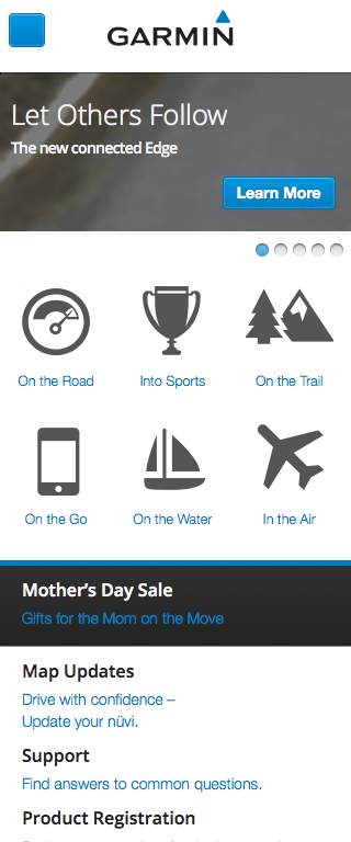 Garmin Responsive Website on Mobile