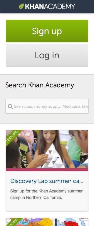 Khan Academy Responsive Website on Mobile
