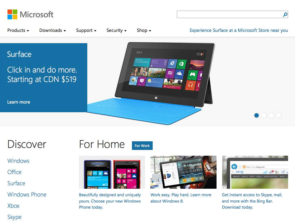 Microsoft Responsive Website on a Tablet