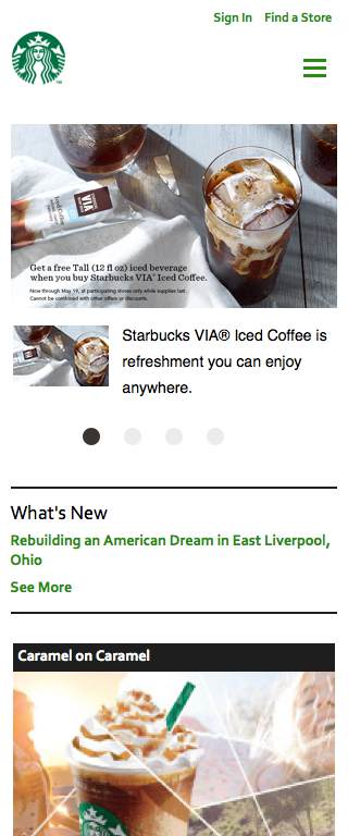 Starbucks Responsive Website on Mobile
