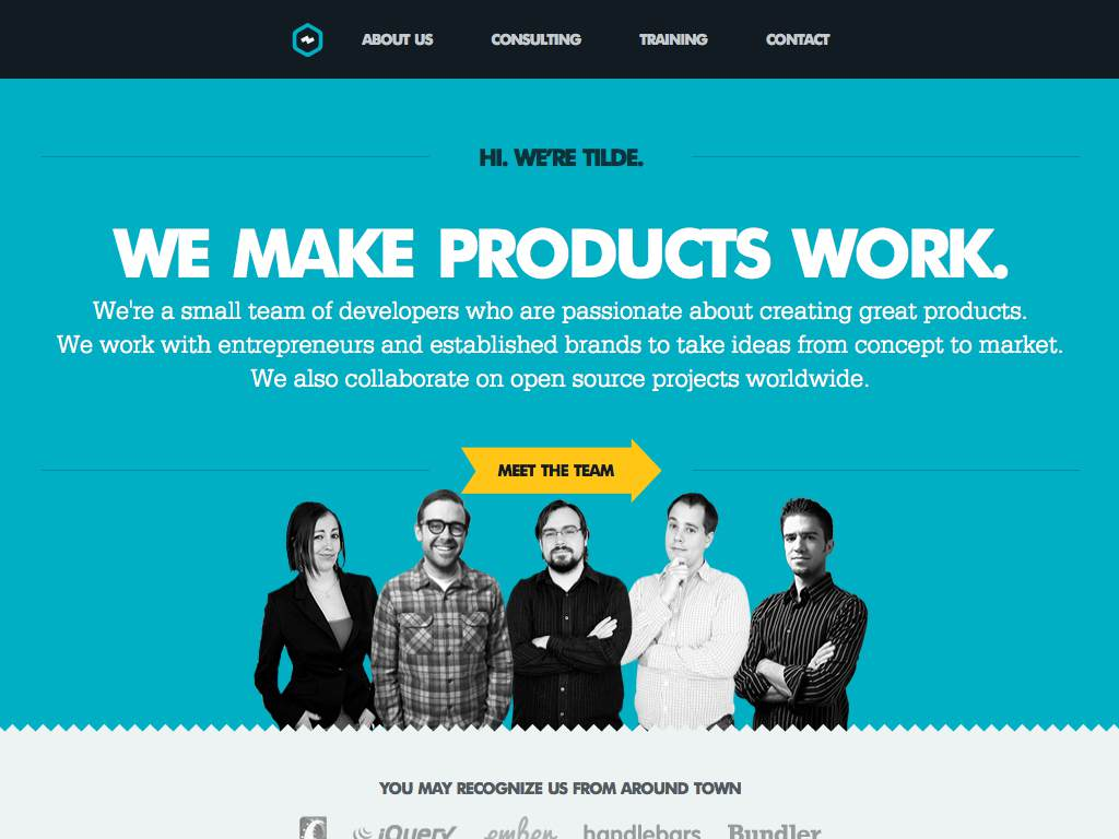 Tilde Inc. Responsive Website on a Tablet