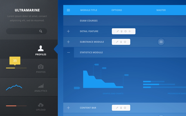 blue admin control panel dashboard interface