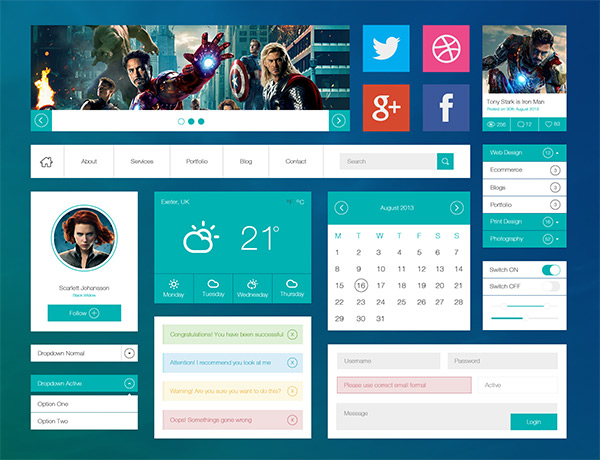 Avengers Flat UI Kit by Tristan Parker in 35 Fresh, Free and Flat UI Kits