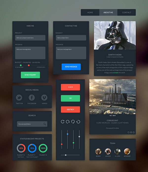 Dark UI Kit by Hüseyin Yilmaz in 35 Fresh, Free and Flat UI Kits