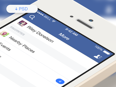 Facebook iOS7 More Menu (Free PSD) by Riley Donelson in 50 Fresh Freebies From Dribbble