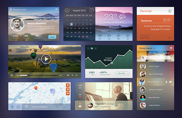 Free PSD UI Kit by Pele Chaengsavang in 35 Fresh, Free and Flat UI Kits